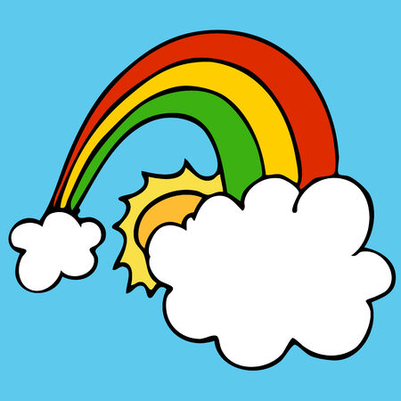 An image of a rainbow with clouds and sun. Illustration