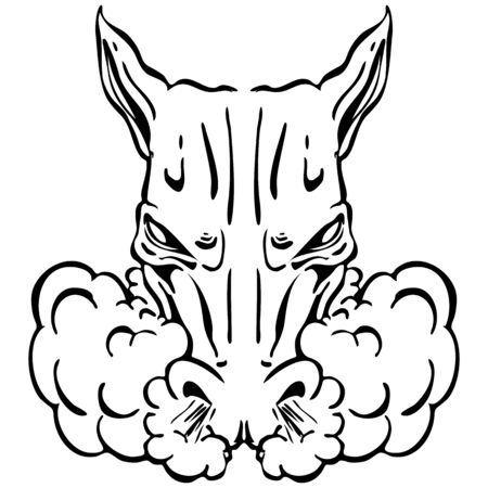 An image of a angry horse head.