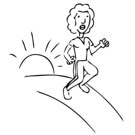 An image of a woman running outdoors. Vector