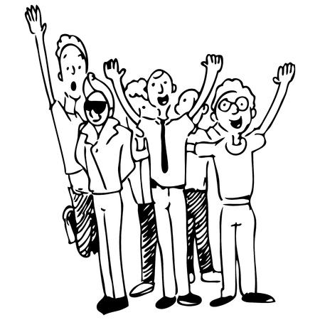 employ� heureux: Une image d'un groupe d'heureux coll�gues Illustration