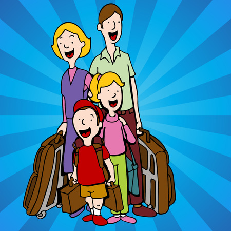 guests: An image of a family of hotel guests with luggage.
