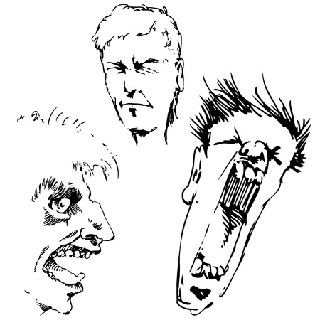 human face: An image of angry faces.