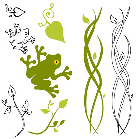 An image of a frog, leaf and stem design elements.