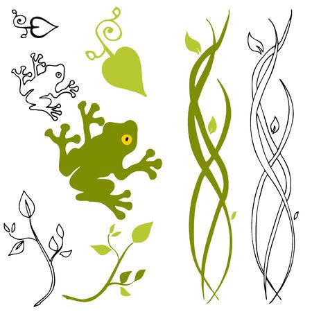 An image of a frog, leaf and stem design elements.