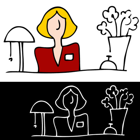 An image of a woman at the front desk. Ilustracja