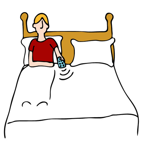 tv remote: An image of a man using a remote control in bed. Illustration