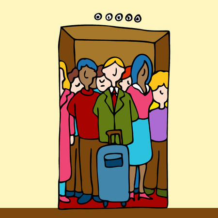crowded: An image of a group of people in a crowded elevator.