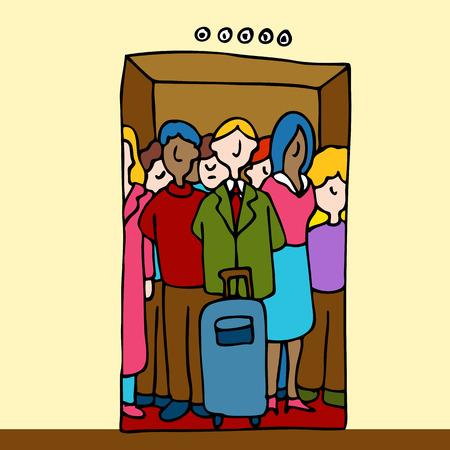 Une image d'un groupe de personnes dans un ascenseur bondé. Vecteurs