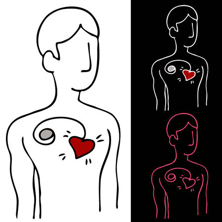 pacemaker: An image of a man with a pacemaker device attached to his heart.