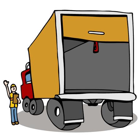 Een beeld van een man die inspectie van een vrachtwagen voor veiligheid.