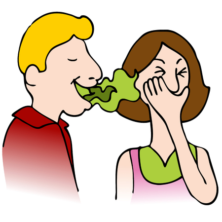 foul: An image of a man with bad breath talking to a woman.