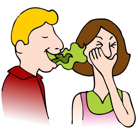 Una imagen de un hombre con mal aliento, hablando con una mujer.