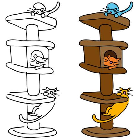 Een afbeelding van een katten spelen in een hoog krassende post boom.
