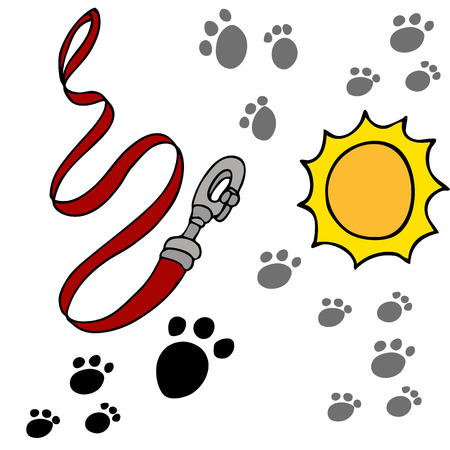 An image of a dog leash and paw prints.