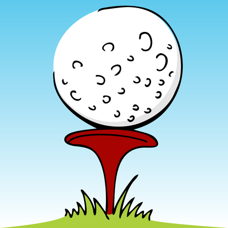 ball: An image of a golf ball and divot. Illustration