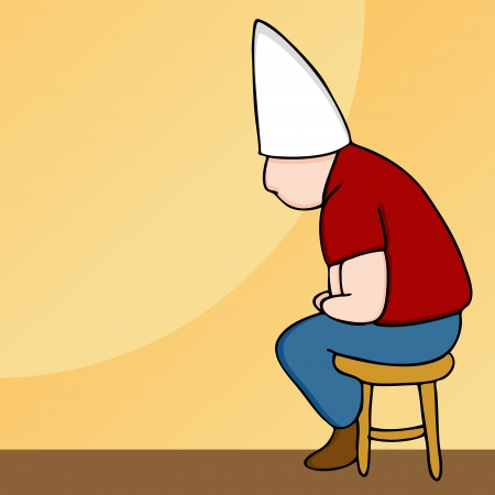 punish: An image of a man wearing a dunce cap sitting on a stool.