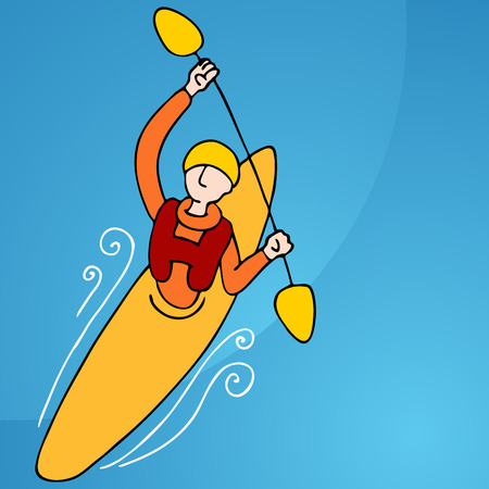 An image of a athletic man rowing in a kayak. Vector
