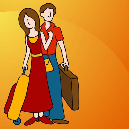 An image of a man and woman with luggage.