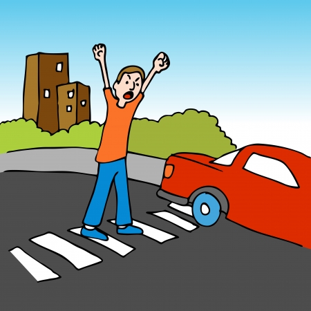 An image of a man shouting at a driver while crossing the street. Vector