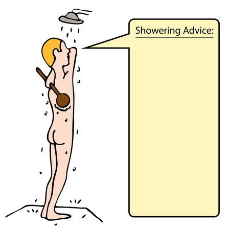 An image of a man taking a shower and scrubbing his back. Vector
