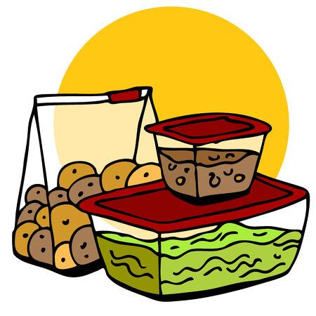 コンテナー内の残りの食糧のイメージ。  イラスト・ベクター素材