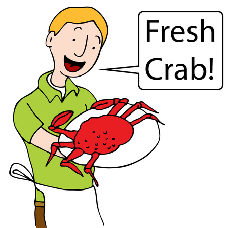 An image of a man holding a plate of crab.