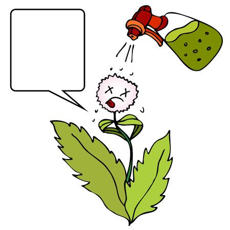Een afbeelding van een onkruidverdelger die op een onkruid wordt gespoten.