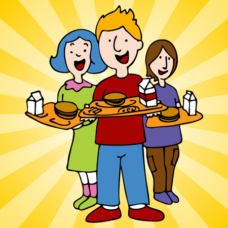 An image of school children holding lunch trays. Vector