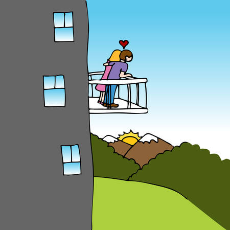 balcony view: An image of a couple in love on a balcony looking at the view. Illustration