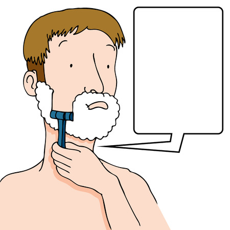 grooming: An image of a man using a razor to shave his face.