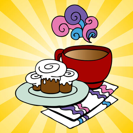 An image of a plate of cinnamon rolls and coffee with napkins. Stock Illustratie