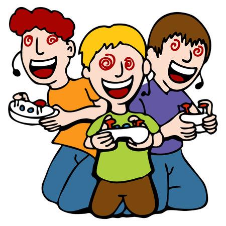 ビデオ ゲームのプレイ中にうっとり 3 人の子供のイメージ。  イラスト・ベクター素材