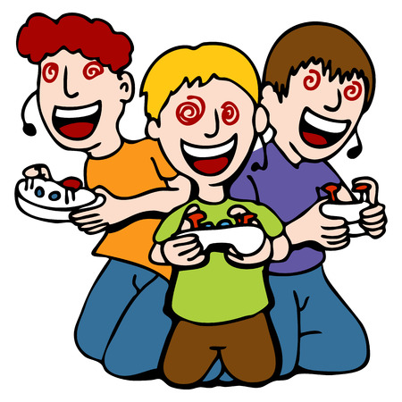 An image of a three children mesmerized while playing video games. Vector