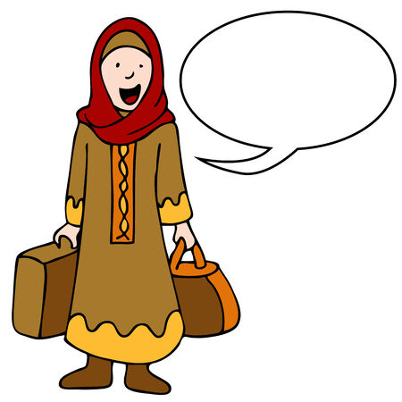 head dress: An image of a muslim girl with her luggage.