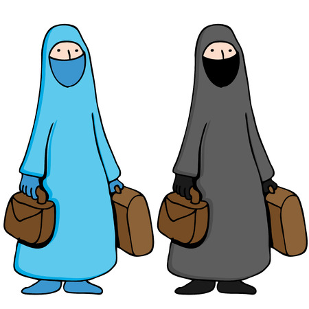 An image of a muslim girl wearing a traditional burka. Vector