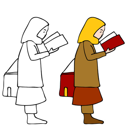 An image of a muslim child reading a book. Vector