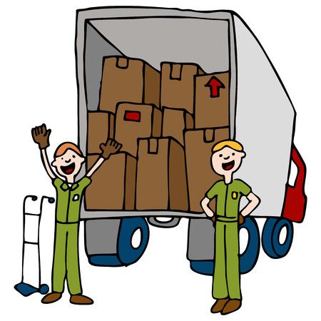 cartoon truck: Una imagen de un movimiento hombres y camiones con cajas.