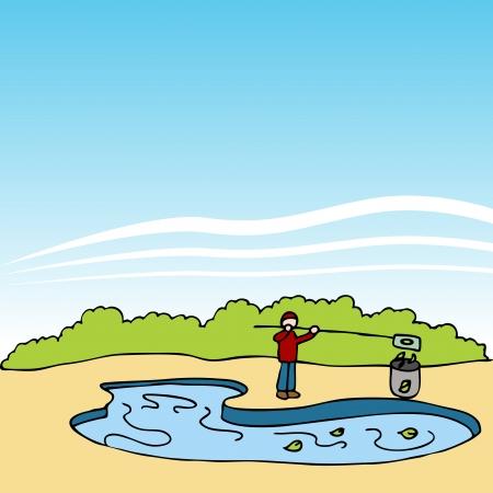 Ein Bild von einem Pool Wartung Worker Reinigung Blätter. Standard-Bild - 9036784