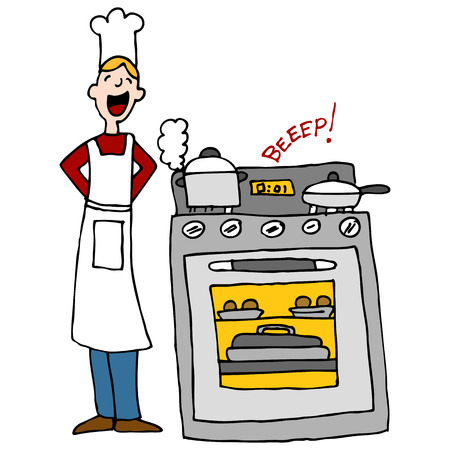 stove: An image of a chef next to an over cooking food with timer beeping.