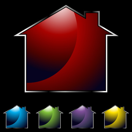 An image of a glossy home icons on black background. Illustration