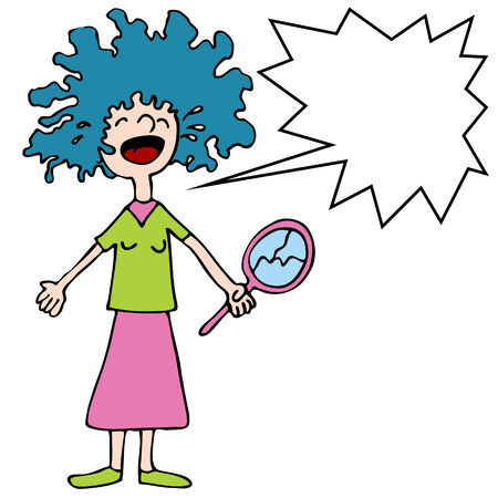 An image of a girl crying over a bad hair perm. Ilustrace