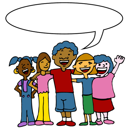 Een afbeelding van een kinderen van verschillende rassen knuffelen en permanent naast elkaar. Stock Illustratie