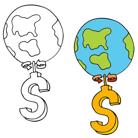 spinning: An image of the world spinning on a dollar sign. Illustration