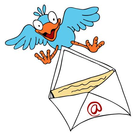 An image of a bird delivering an email.