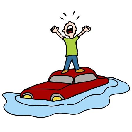 Ein Bild von einem Mann auf dem Dach seines Autos von Wasser umgeben. Standard-Bild - 9113644