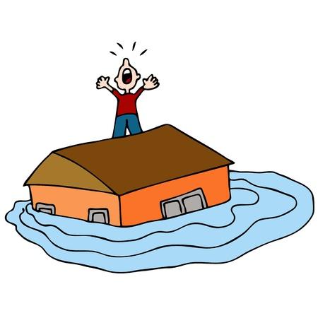 Een beeld van een man op het dak van zijn overstroomde huis schreeuwen om hulp.