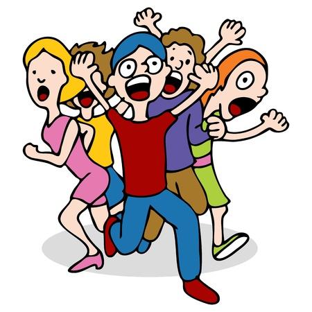 Una imagen de una multitud de personas corriendo y gritando. Ilustración de vector