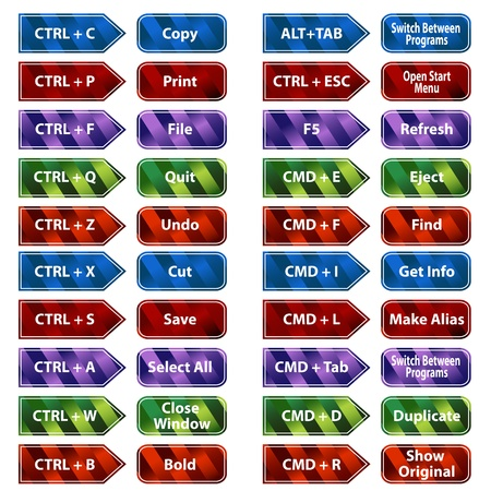 An image of keyboard shortcuts button set. Stock Vector - 9113667