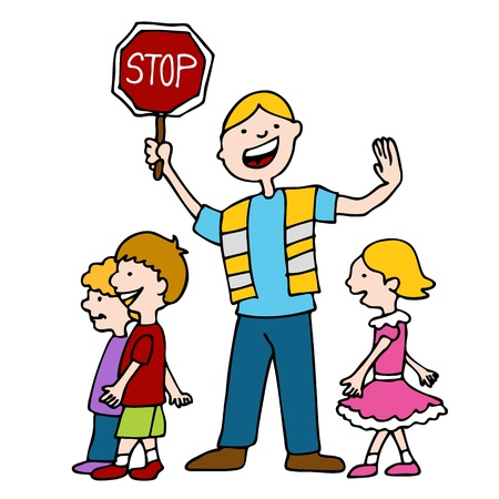 cross walk: An image of a crossing guard with children.