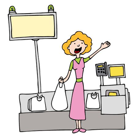 sketch out: An image of a woman using self checkout at the grocery store. Illustration
